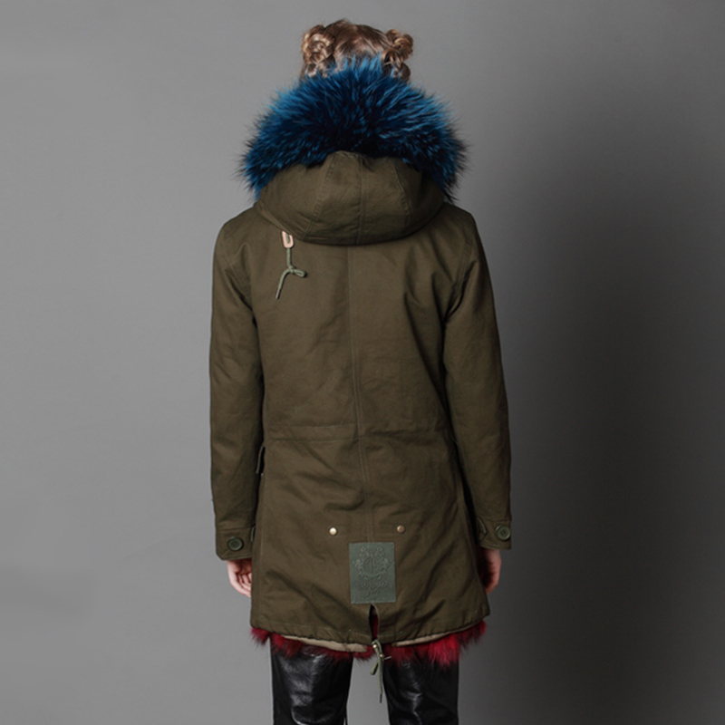 LVCHI 2019 nuovo inverno Femminile Parker Naturale Cappotti di pelliccia di Volpe SHUBA Casual Fox morbido rivestimento Militare di stile genuino Del Collare caldo cappuccio - 4