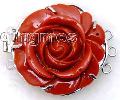 Big 30mm Red synthesize Coral Flower shape Three strands Clasp-gp67 Wholesale/retail Free shipping