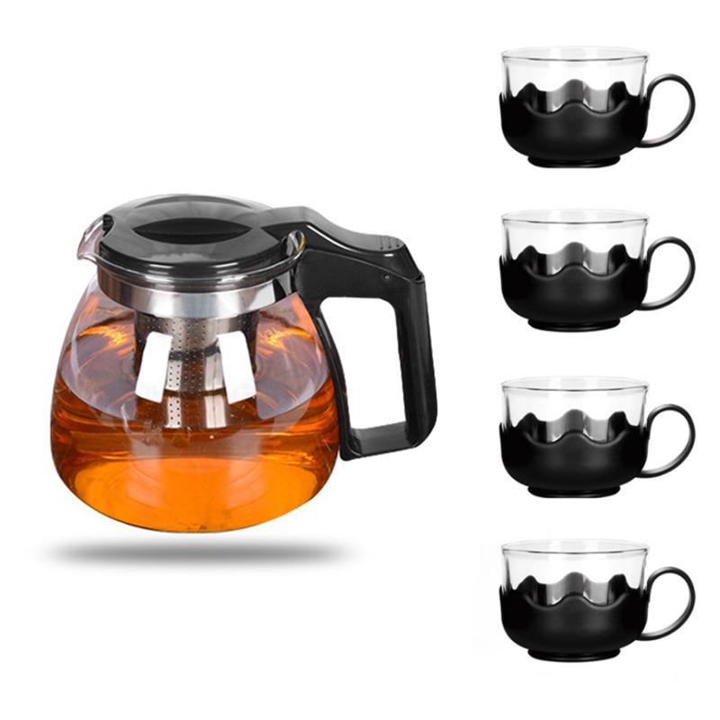Heat resistant Glass Teapot Set Stainless Steel Fliter Tea Kettle Tea Set @LS DC05