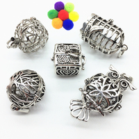 5pcs Mix Hollow Bird Cage Owl Tree Apple Locket Perfume Fragrance Essential Oil Aromatherapy Diffuser Charms