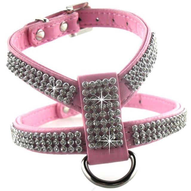 Pet Dog Harness Leather Full Luxury Crystal Rhinestone Puppy Harness