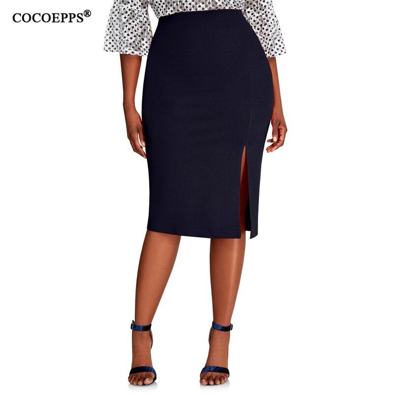 COCOEPPS 2019 Fashion New Brief High Waist Skirt Plus Size Bodycon Pencil Skirt Women Blue Sexy Slim Elegant Work OL Skirts 6XL
