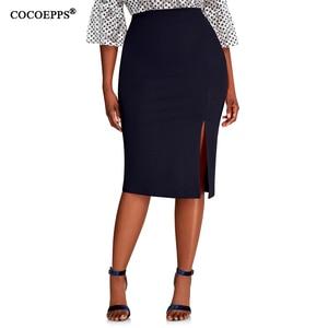 Image 3 - COCOEPPS 2019 Fashion New Brief High Waist Skirt Plus Size bodycon Pencil Skirt Women blue Sexy Slim Elegant Work OL Skirts 6XL