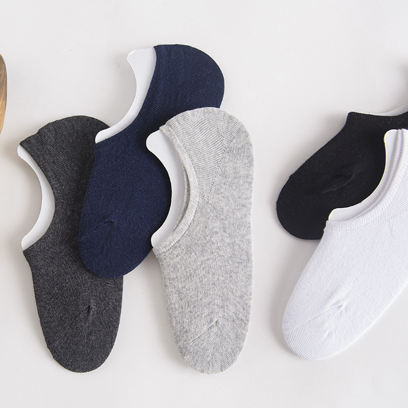 Male Summer and Spring Cotton   Sock   Slippers Sweat and Deodorant Invisible   Sock   with Anti Skid solid color Ankle