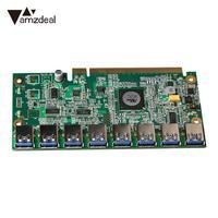 Amzdeal High Speed PCI E 16X To 8 Ports USB3 0 PCI E 1 To 8