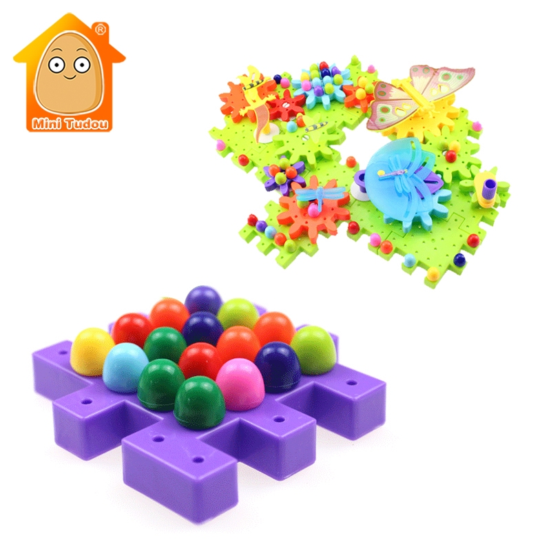 95 PCS Butterfly Gears Puzzles Building Educational Toy For Children DIY Mosaic Mushroom Nails Fun Building Kits Toy For Kids