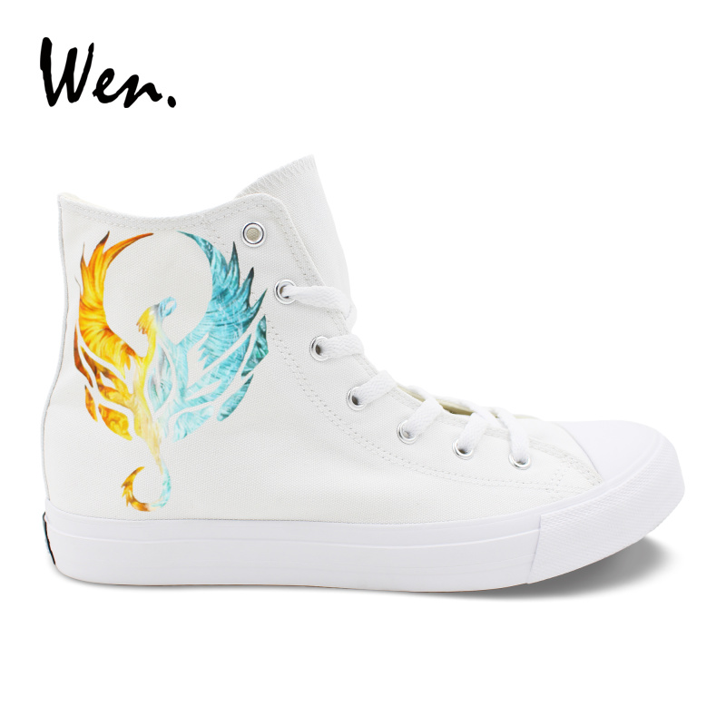 Wen Fashion White Casual Shoes Design Fire and Iced Phoenix Hand Painted Shoes High Top Men Women's Canvas Rubber Sneakers