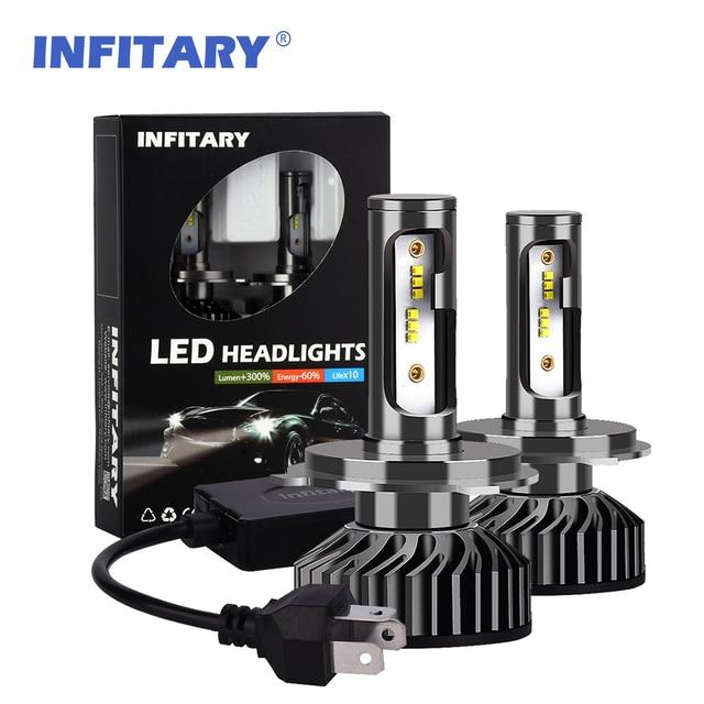 Infitary 2pcs H4 LED H1 H11 9006 H7 LED ZES Car Headlight 72W 8000LM Auto Headlamp Light Bulb Fog Lights White 6000K 12V Lamp