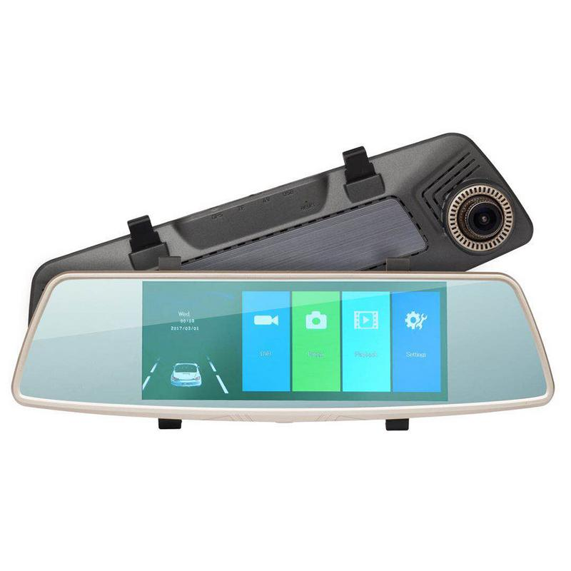 L1006 Rear View Mirror Driving Recorder HD Night Double Lens 7.0-Inch Circular Video Front And Back Double Reversing Image цена