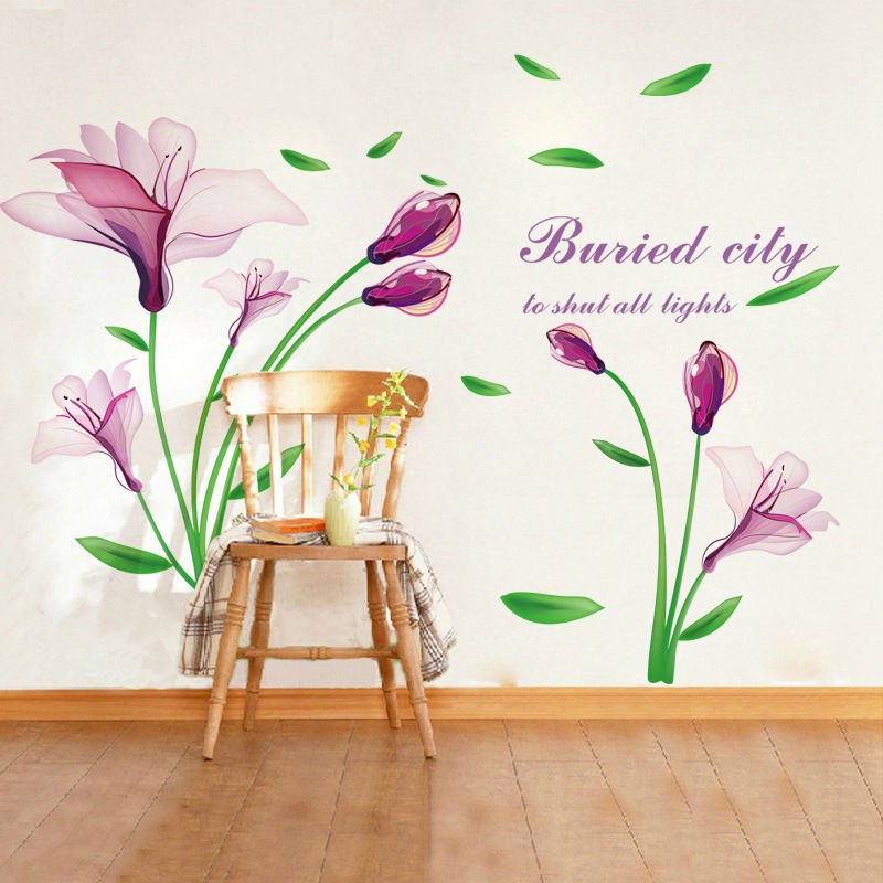 1pcs Purple Flower Poster Mural Temporary Wall Sticker Decals