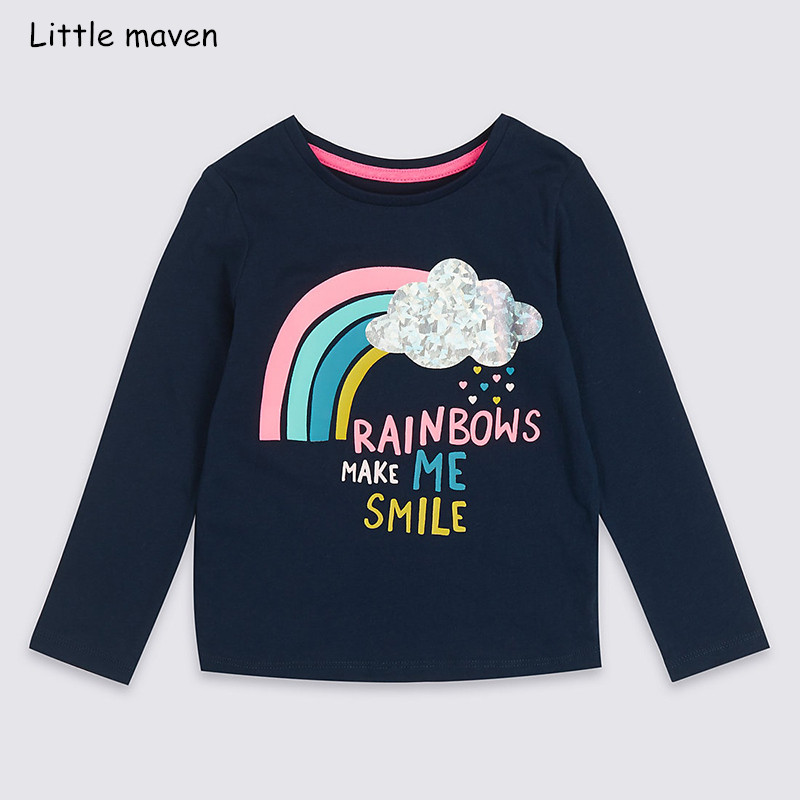 Little maven children brand baby girl clothes 2018 autumn new girls cotton long sleeve O-neck letter print t shirt vogue letter and animal print round neck long sleeve sweatshirt for women