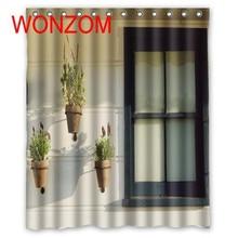 купить WONZOM Polyester Potting Butterfly Shower Curtains with 12 Hooks For Bathroom Decor Modern 3D Floral Bath Waterproof Curtain дешево