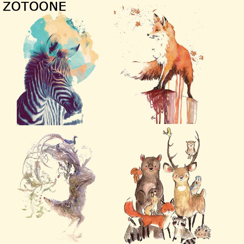 ZOTOONE Cute Cartoon Fox Patches In Stock Iron on Heat Transfer Ironing Stickers for Baby Animal Clothes Bags E