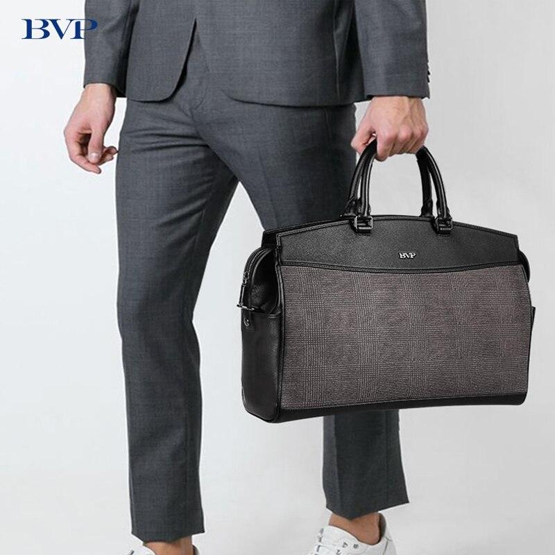 BVP бренд Для мужчин сумки через плечо 14 дюймов ноутбука Портфели решетки кожа сумка работы Сумочка многофункциональный дорожная сумка 50