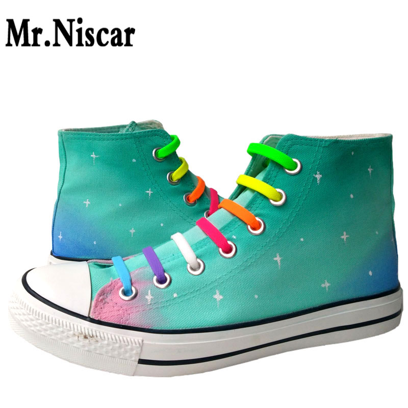ФОТО Mr.Niscar Women Lace-Up Canvas Shoes Female Breathable Fashion Casual Shoes High Top Harajuku Galaxy Series Flats Shoes Woman