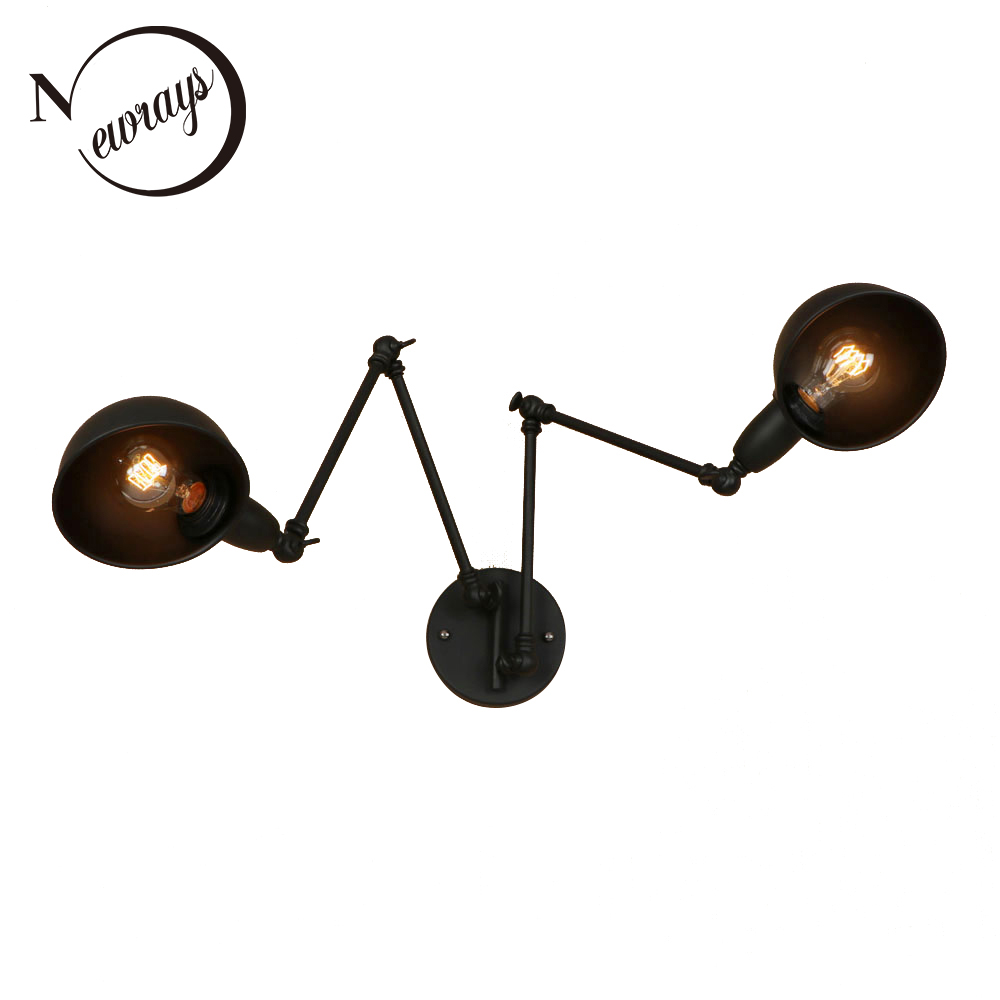 American style vintage iron painted 3 colors wall lamp E27 LED 220V 2 lights retro sconce lights for bedroom living room hallway chandeliers lights led lamps e27 bulbs iron ceiling fixtures glass cover american european style for living room bedroom 1031