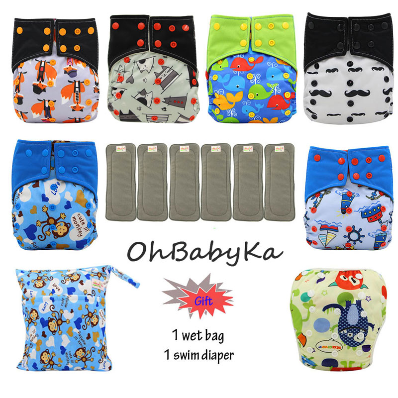 OhBabyKa Reusable All-in-two Pocket Diaper Bamboo Charcoal Washable Baby Cloth Diaper Cover +6pcs Bamboo Insert Baby NappiesOhBabyKa Reusable All-in-two Pocket Diaper Bamboo Charcoal Washable Baby Cloth Diaper Cover +6pcs Bamboo Insert Baby Nappies
