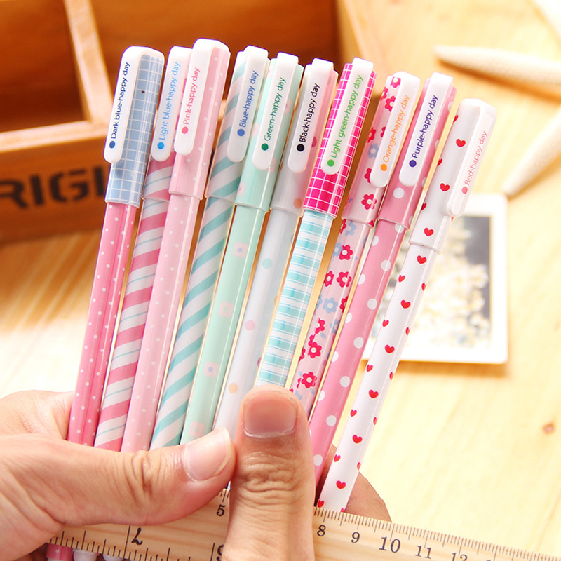 10 pcs/lot Color Gel Pen Kawaii Stationery Korean Flower Canetas Escolar Papelaria Gift Office Material School Supplies 5packs lot 10 colors new cute cartoon colored gel pen set kawaii stationery gift office
