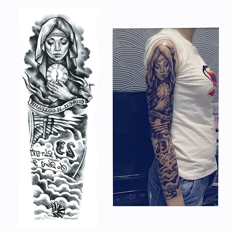 2017 New 1 Piece Temporary Tattoo Sticker Nun Girl Pray Design Full Flower Arm Body Art Beckham Big Large Fake Tattoo Sticker