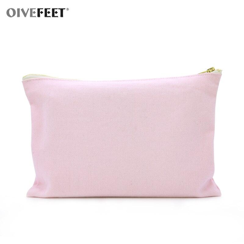OIVEFEET,5pcs,12oz Plain Pink Cotton Canvas Cosmetic Bag Travel Toiletry Makeup Gold Zipper Pouch Bag