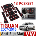 for VW Tiguan 2007-2016 Anti-Slip Rubber Cup Cushion Door Mat 13pcs Volkswagen 2009 2011 2013 Accessories Car Styling Sticker