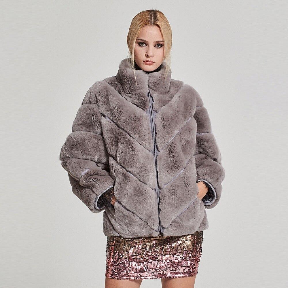 Fur Story Women's Real Fur Coat Fashion Real Rex Rabbit Fur Coat With Bat Sleeve Winter Warm Stand Collar Jacket 17156