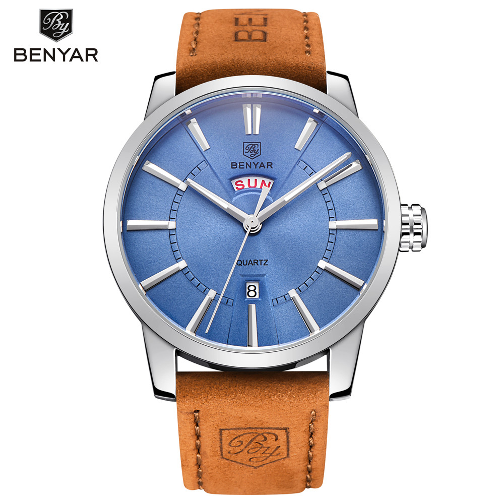 High Quality Genuine Leather Men Sport Watches Luxury Brand Business Waterproof Quartz Watch Men Casual Wrist