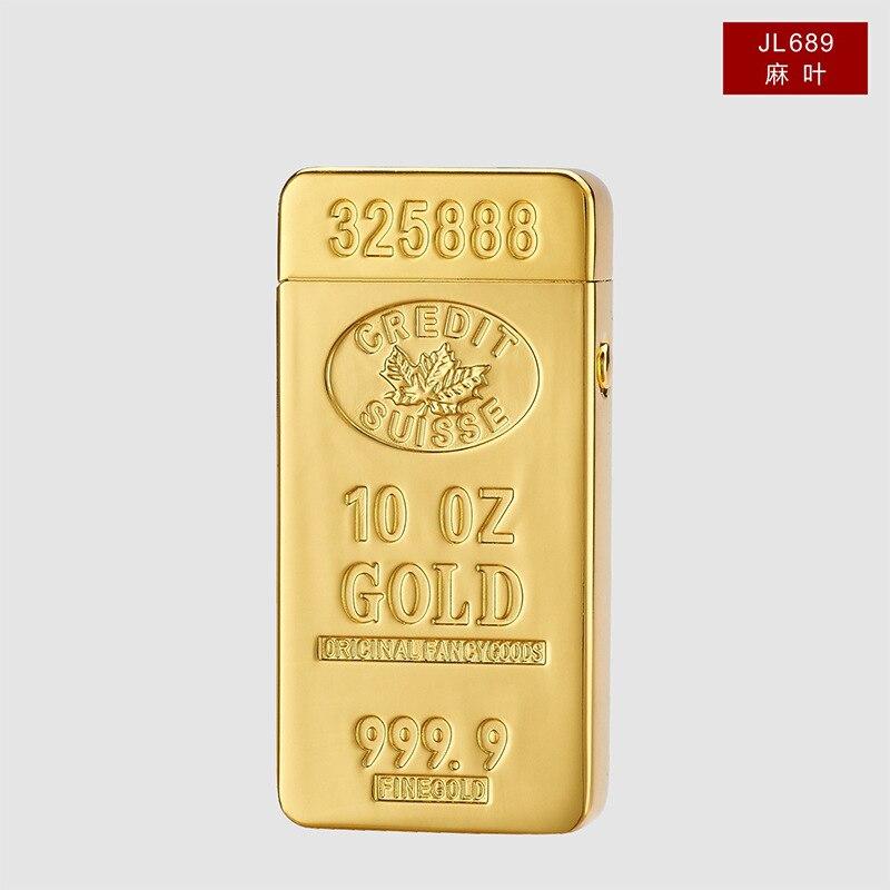Double Arc Pulse Cross Ligthers Luxury Gold Bar Design Gold Lighter USB Charging Metal Electronic Cigarette Lighter zapalniczka