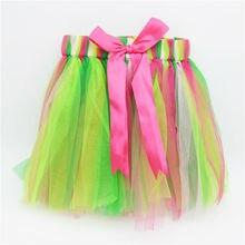 Retail girls fashion skirt 2015 new handmade fluffy chiffon rainbow tutu skrits baby Free shipping