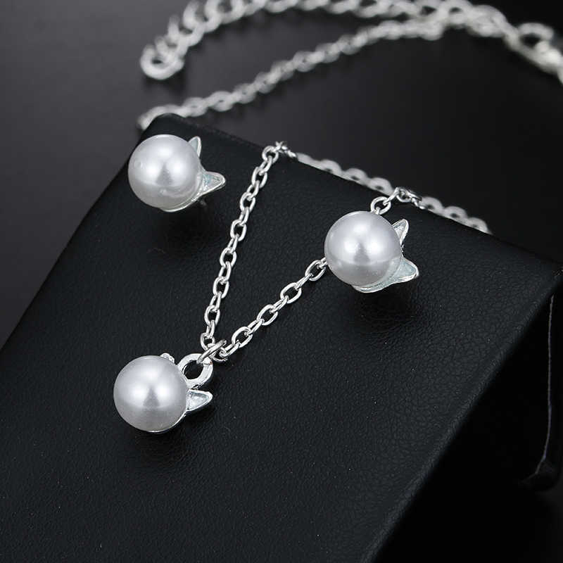 H9 Fashion Cute Cat Simulated Pearl Jewelry Sets For Women Animal Kitten Pendant Necklace&Stud Earrings Exquisite Gift Wholesale