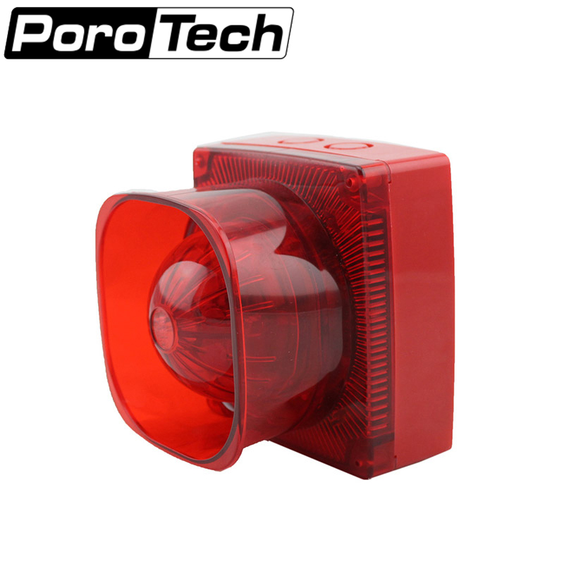 SF-37 Strobe Siren Sound and Light Fire Alarm Waterproof Conventional Strobe Sounder Red Flash Light and Horn for car buildings ms 490 ac 110v 220v 150db motor driven air raid siren metal horn double industry boat alarm