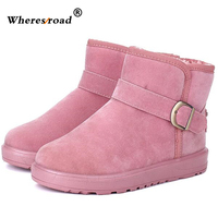 Wheresroad Winter Warmer Snow Boots Fur Round Toe Women S Shearling Fashion Female Comfortable Hand Make