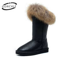 GONCALE fashion real fox fur high quality winter snow boots for women winter shoes cow split leather boots black Waterproof
