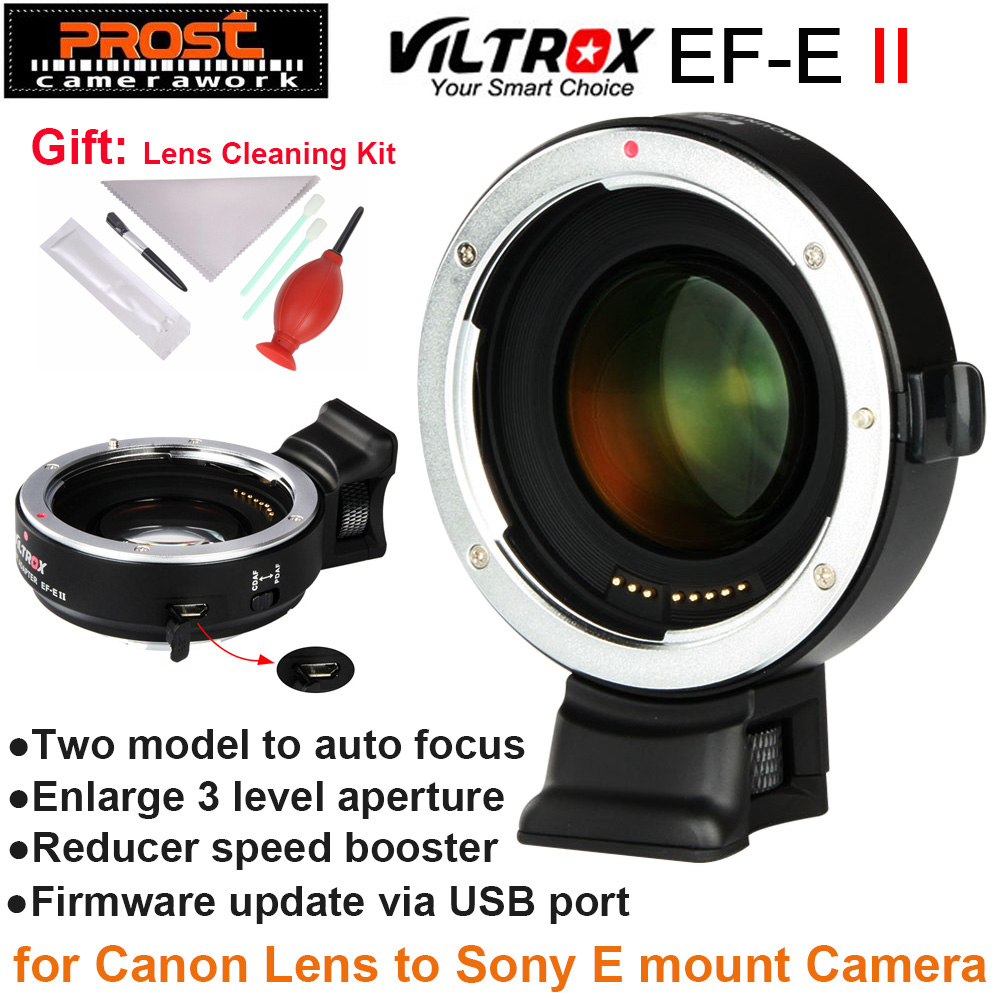 Viltrox EF-E II Auto Focus Reducer Speed Booster Lens Adapter for Canon EF Lens to Sony NEX E Camera A9 A7 A7R A7SII A6500 NEX-7 pixco focal reducer speed booster lens adapter ring suit for canon ef lens to suit for micro 4 3 m4 3 camera gx7 e m5 e pl6
