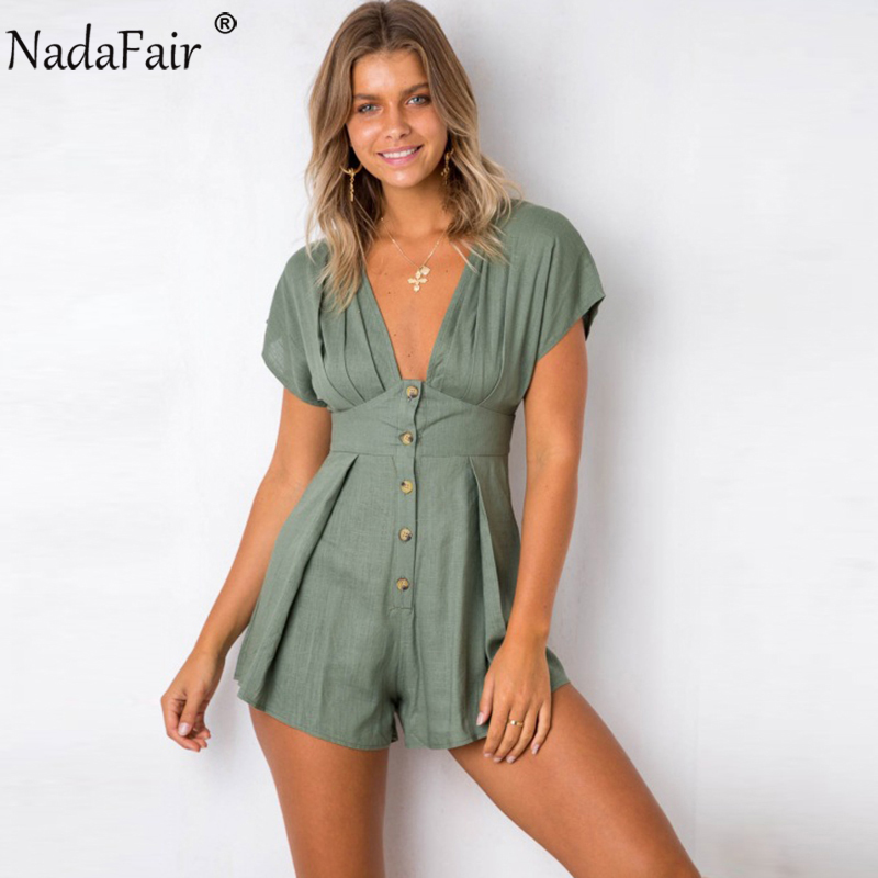 035202a6084 Nadafair Deep V Neck Short Sleeve Casual Button Playsuit Women Summer  Cotton Linen Rompers Ruched Jumpsuit