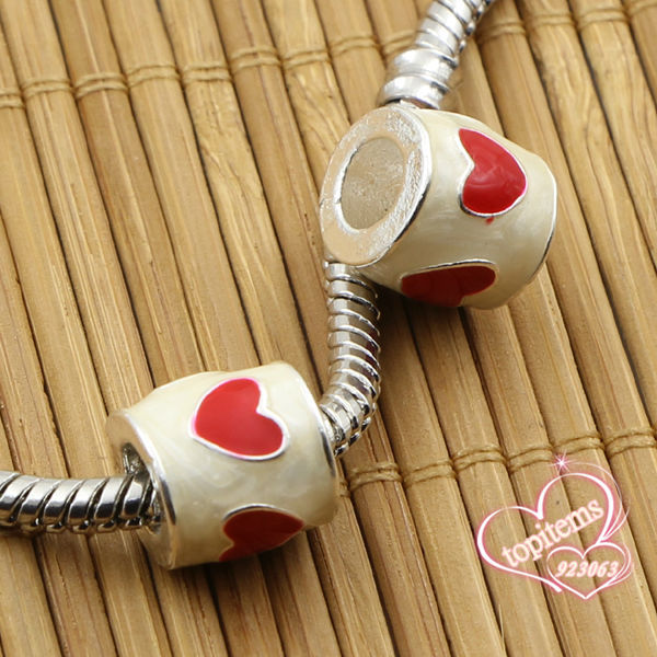 Beads Beads & Jewelry Making Wholesales 20pcs/lot Red Enamel Love Heart Cylindrical Silver Plated Charms Big Hole Beads For Jewelry European Bracelets Making