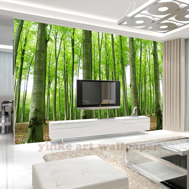 moderne verdure arbre 3d papiers peints for t peintures murales de papier peint pour tv toile de. Black Bedroom Furniture Sets. Home Design Ideas