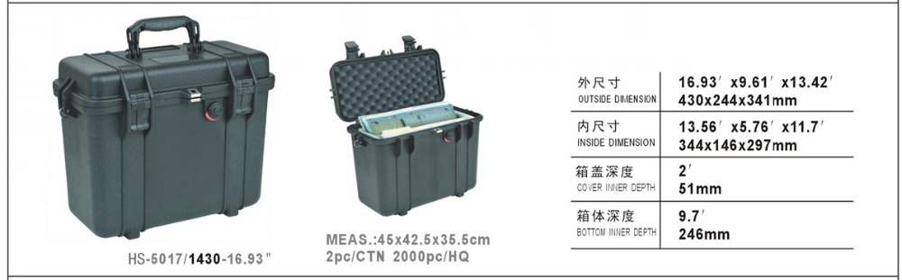 Waterproof tool case toolbox suitcase Protective Camera Case Instrument box Protective case with pre-cut foam 344*146*297mm