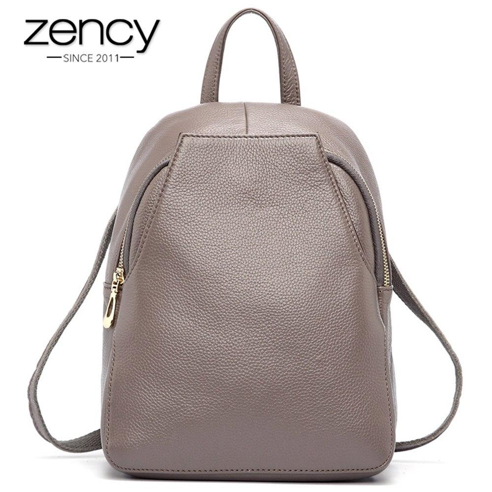 Zency nouveauté sac à dos pour femme 100% En Cuir Véritable sacs de voyage pour femmes Style Preppy cartables pour filles À Dos de Vacances
