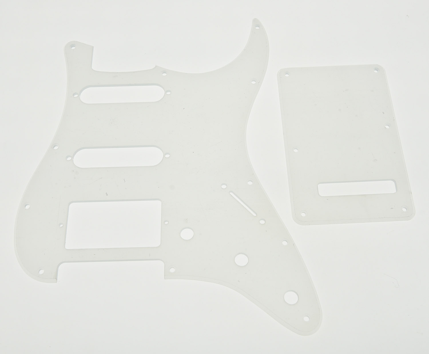 Transparent ST Guitar HSS Pickguard and Clear Trem Cover Screws musiclily 3ply pvc outline pickguard for fenderstrat st guitar custom