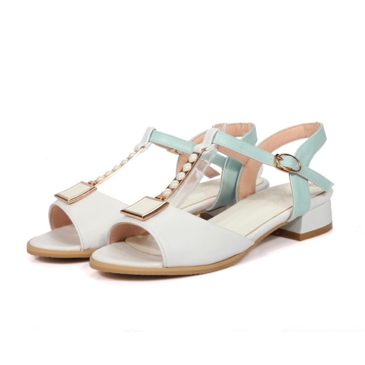 Venta Verano Cielo Las 48 Punta De Azul Gladiador Tacones Señoras Moda Tamaño Grande 34 Zapatos Sandalias Bajos rosado Real blanco Abierta 2017 Mujeres 9396 wxU1IqzP
