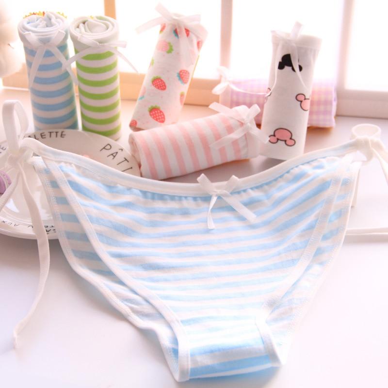 New arrival Cotton Panties Women's Plus Size Underwear Briefs Sexy low-waist Lingerie Intimates Striped Bow Panties