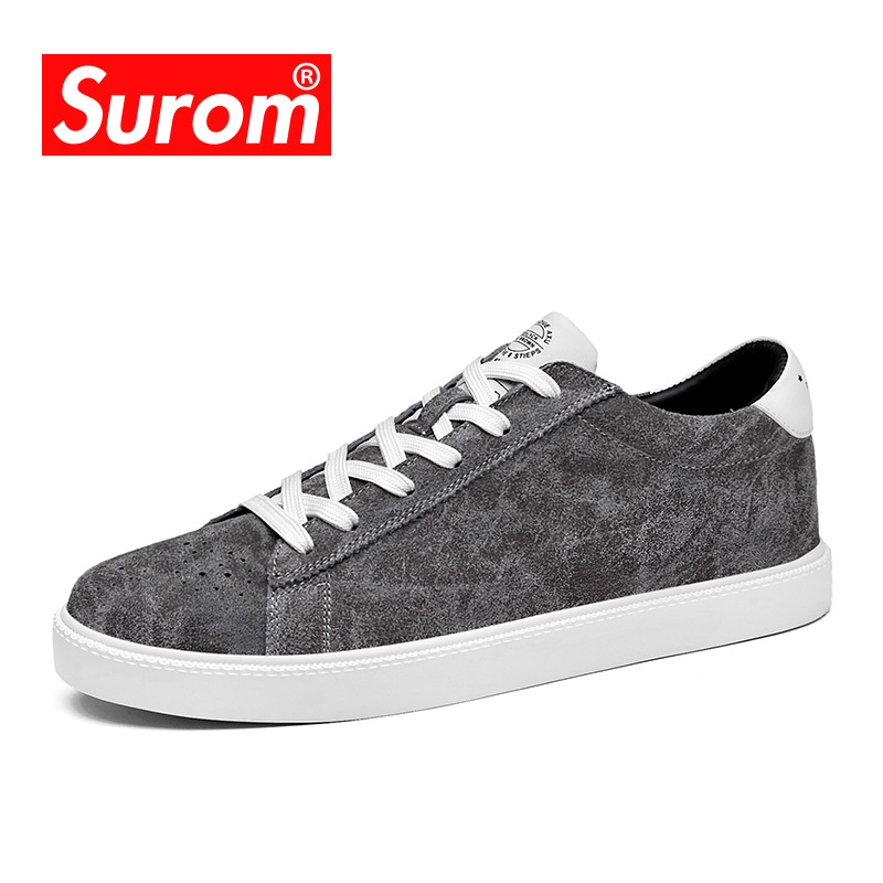 SUROM Brand New Men's Casual Shoes 2018 Retro Style Platform Sneakers Men Leather Shoes Black Color Lace up Flats Shoe For Boys