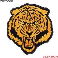 ZOTOONE Большая Золотая нашивка с тигром для одежды вышитая нашивка с железными нашивками женская кожаная куртка Модные наклейки футболка для ...