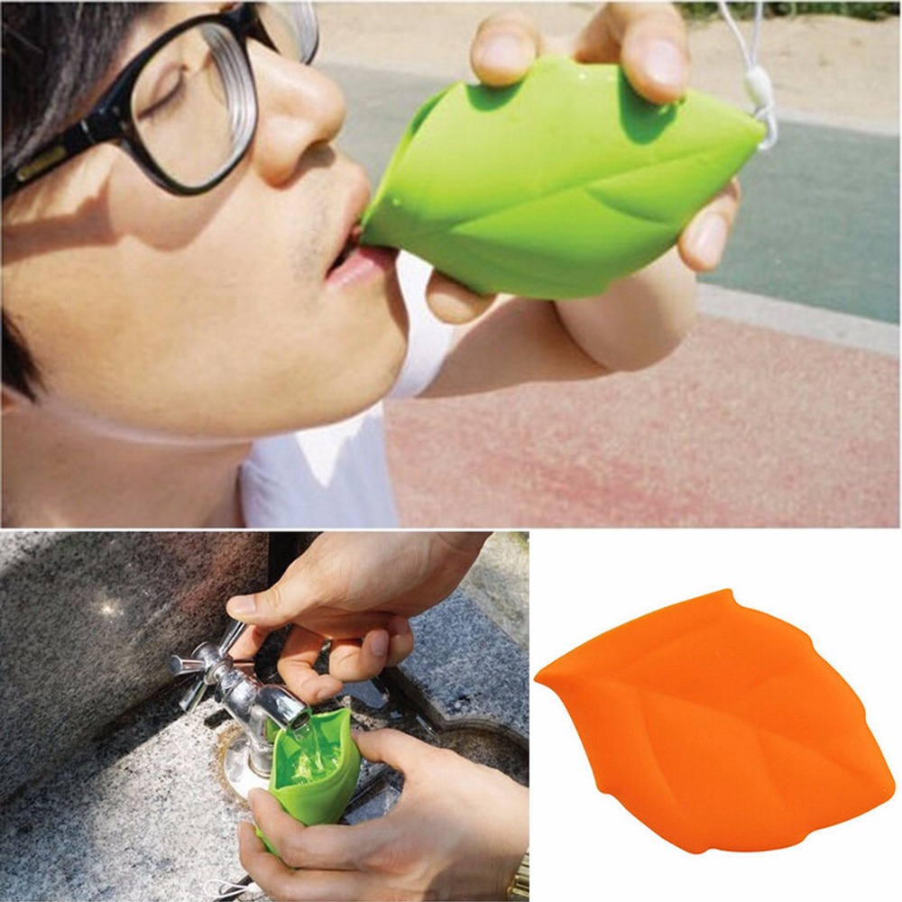Mini Creative Soft Silicone Leaf Shape Outdoor Camping Pocket Drink Water Cup H