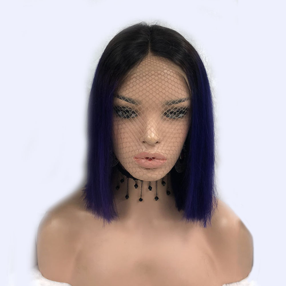 1B Purple Colored Ombre Two Tone Lace Front Wig Human Hair Peruvian Remy Short Bob Wig
