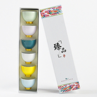 6pcs/set Chinese Teacup Ceramic Cup Handmade Colorful Kung Fu Tea Cup Rainbow Personal Enjoy Tea Set For Gift