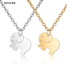 WFSVER Lucky Elephant Stainless Steel Pendant Necklace Gold/Silver Color Long Chain For Mother Gift Fashion Jewelry