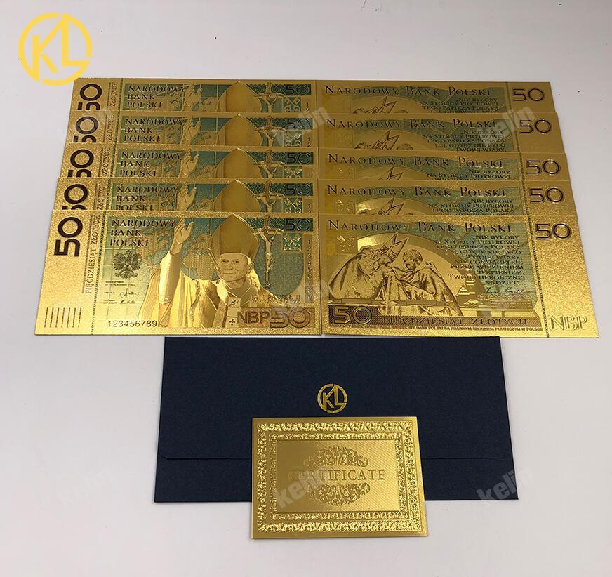 Золотая пластиковая банкнота в польском стиле, 50 злотых, иоань Пауль II для коллекции золота 999 пробы. Полимерные бесплатные подарки