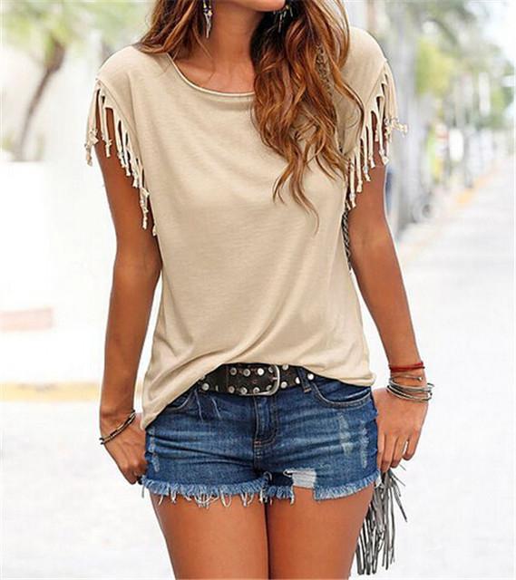 Softu Newest Women Fashion Tassel Casual Top Blouse Solid O Neck Short Sleeve Loose Shirts European Style Lady Clothing